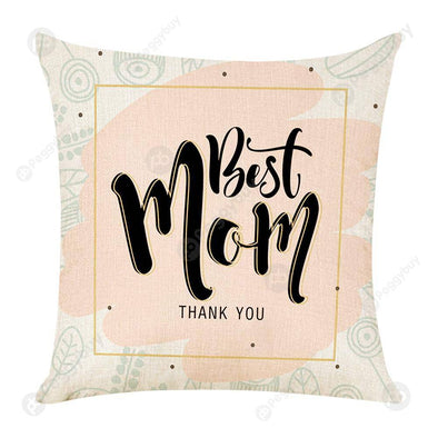Mothers Day Letters Printed Linen Throw Pillow Case Sofa Cushion Cover (17)