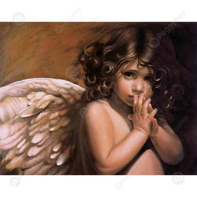 37*30CM Special Shaped Diamond Painting-Wings Angel Kid