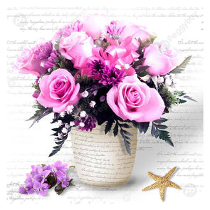 30*30CM Special Shaped Diamond Painting-Romantic Flowers