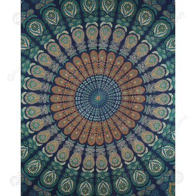 Boho Geometric Pattern Carpet Mat Sleeping Blanket Tapestry (M Mandala13)