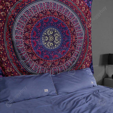 Boho Geometric Pattern Carpet Mat Sleeping Blanket Tapestry (L Mandala14)