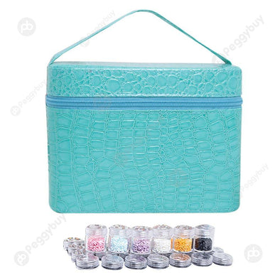 84 Bottles PU Leather Diamond Painting Charm Rhinestone Storage Bag (Blue)