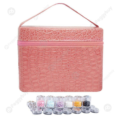 84 Bottles PU Leather Diamond Painting Charm Rhinestone Storage Bag (Pink)
