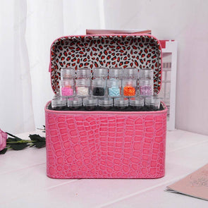 84 Bottles PU Leather Diamond Painting Charm Rhinestone Storage Bag (Rose)