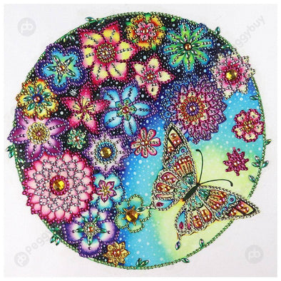 30*30CM Special Shaped Diamond Painting-Flower Butterfly