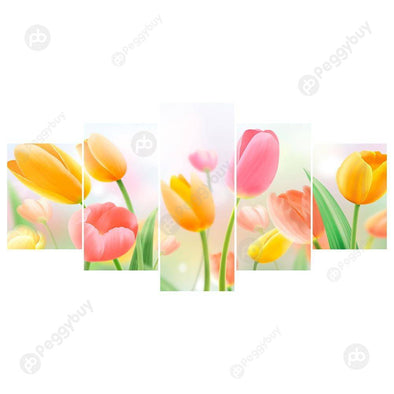 95*45CM Multi-picture Diamond Painting-5pcs Tulip