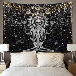 Mandala Tapestry Wall Hanging Blanket Yoga Mat Bedroom Decor (Skull01 M)