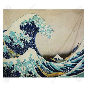 Wall Hanging Tapestry Beach Rug Blanket Camping Mat Home Decor (Ocean01 L)