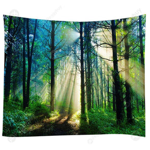 Forest Tree Print Tapestry Picnic Yoga Mat Carpet Home Decor (Woods05 L)