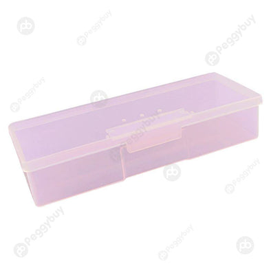 Rectangle Nail Storage Box Transparent Manicure Jewelry Organizer (Pink)