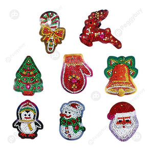 8pcs Christmas Decorations-DIY Creative Diamond Keychain