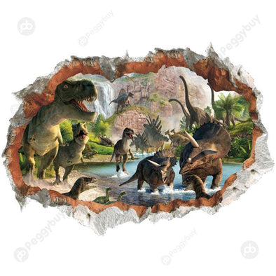 3D Vivid Dinosaur Wall Sticker PVC Mural Art Poster for Kid Room Home Decor