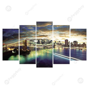 95*45CM Multi-picture Diamond Painting-5pcs City