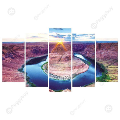 95*45CM Multi-picture Diamond Painting-5pcs Ring Lake Water