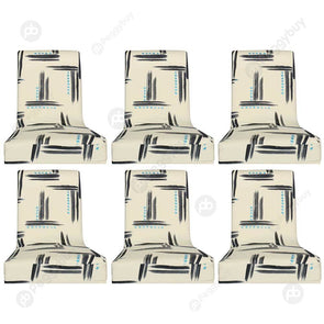 6pcs Graffiti Printed Stretch Chair Cover Hotel Banquet Elastic Seat Covers