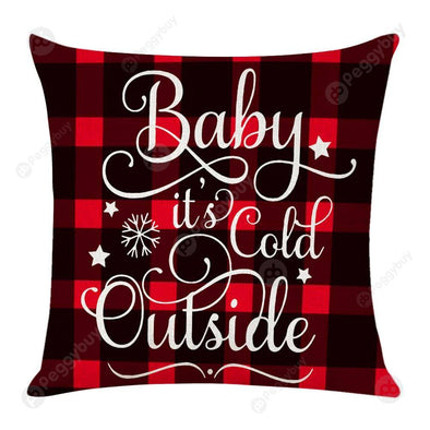 Christmas Pattern Linen Pillowcase Soft Throw Pillow Case Sofa Cushion (2)