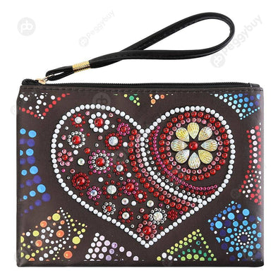 Heart-DIY Creative Diamond Wristlet Bag