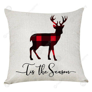 Elk Printed Xmas Pillow Case Linen Sofa Cushion Cover Home Party Decor (2)