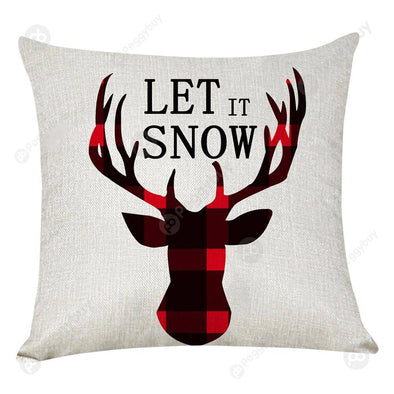 Elk Printed Xmas Pillow Case Linen Sofa Cushion Cover Home Party Decor (4)