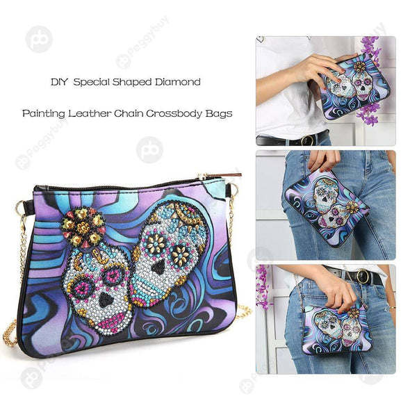 Skull-DIY Creative Diamond Wristlet Bag