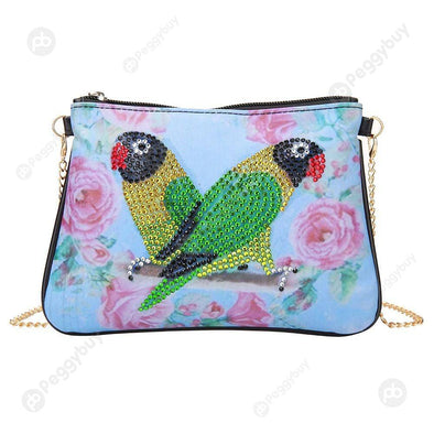 Parrot-DIY Creative Diamond Wristlet Bag