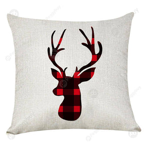 Elk Print Checked Xmas Pillow Case Sofa Cushion Cover Home Party Decor (1)