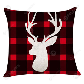 Elk Print Checked Xmas Pillow Case Sofa Cushion Cover Home Party Decor (2)