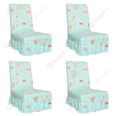 Elastic Thin Chair Cover Flower Seat Case Ruffled Hem for Home Hotel (4pcs)