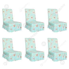 Elastic Thin Chair Cover Flower Seat Case Ruffled Hem for Home Hotel (6pcs)