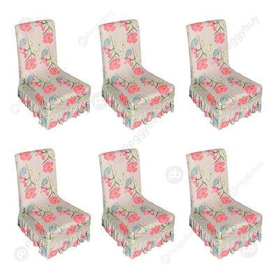 Pink Flower Chair Cover Elastic Seat Case Ruffled Hem for Home Hotel (6pcs)