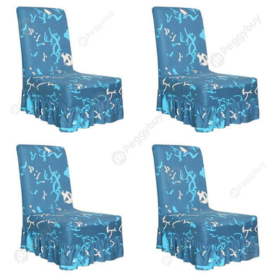 Elastic Chair Cover Thin Seat Case with Ruffled Hem for Home Hotel (4pcs)