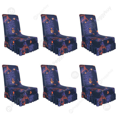 Dark Blue Chair Cover Elastic Thin Seat Case with Ruffled Hem (6pcs)