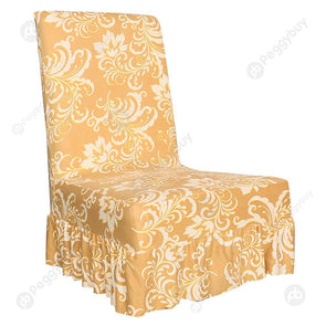 Gold Pattern Chair Cover Elastic Thin Ruffled Seat Case Home Hotel (1pc)