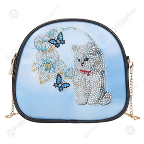 Cat-DIY Creative Diamond Wristlet Bag
