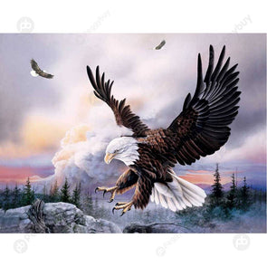 30*40CM Round Drill Diamond Painting-Eagle