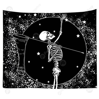 Punk Skull Printed Wall Hanging Tapestry Carpet Bedspread Beach Mat (15 M)