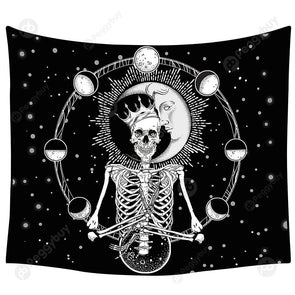 Punk Skull Printed Wall Hanging Tapestry Carpet Bedspread Beach Mat (18 M)