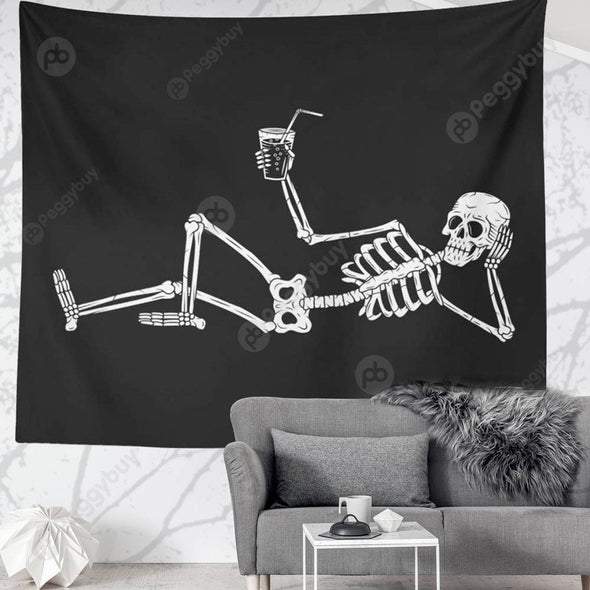Punk Skull Printed Wall Hanging Tapestry Carpet Bedspread Beach Mat (19 M)