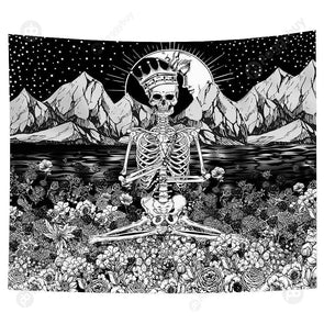 Punk Skull Printed Wall Hanging Tapestry Carpet Bedspread Beach Mat (16 L)