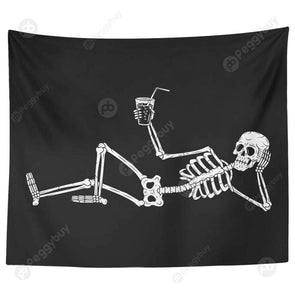Punk Skull Printed Wall Hanging Tapestry Carpet Bedspread Beach Mat (19 L)