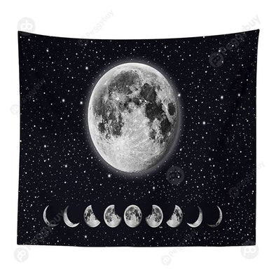 Moon Printed Wall Hanging Tapestry Floor Carpet Bedspread Beach Mat (02 M)