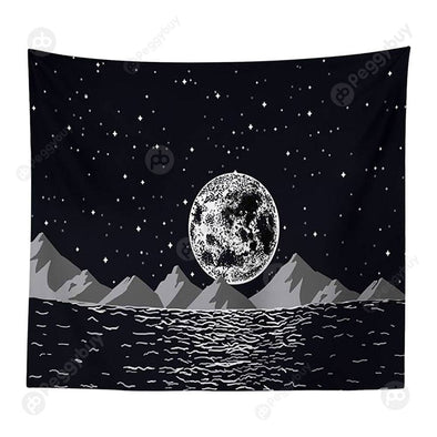 Moon Printed Wall Hanging Tapestry Floor Carpet Bedspread Beach Mat (03 M)