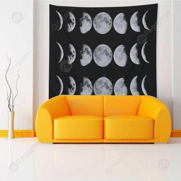 Moon Printed Wall Hanging Tapestry Floor Carpet Bedspread Beach Mat (05 L)