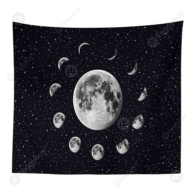 Moon Printed Wall Hanging Tapestry Floor Carpet Bedspread Beach Mat (06 L)