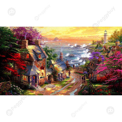 1000pcs DIY Seaside House Puzzle Educational Learning Assembling Jigsaw Toy