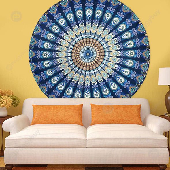 140 X 140cm Round Meditation Wall Tapestry Carpet Beach Yoga Mat (2)