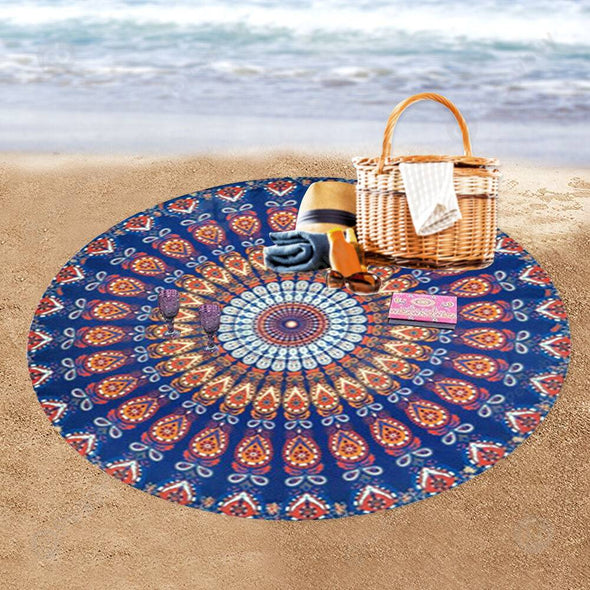 140 X 140cm Round Meditation Wall Tapestry Carpet Beach Yoga Mat (9)