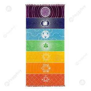 Square Beach Towel Rainbow Stripes Wall Hanging Tapestry Color Yoga Mat (M)