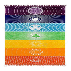 Square Beach Towel Rainbow Stripes Wall Hanging Tapestry Color Yoga Mat (L)