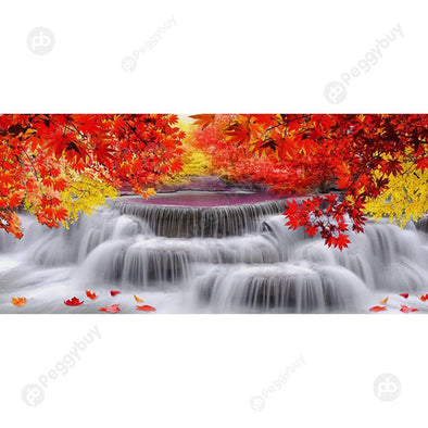 100*50CM Round Drill Diamond Painting-Maple Waterfall